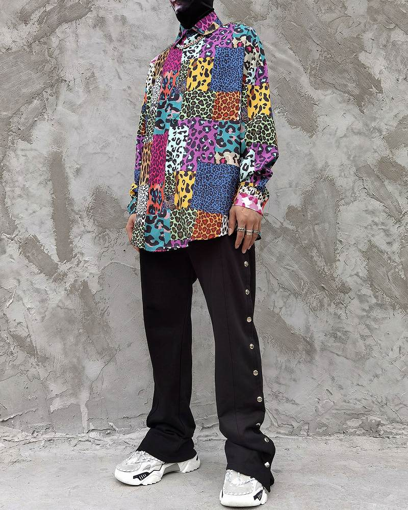 スーパーOBACHAN'Sマルチカラーパッチワークレオパード長袖シャツの画像2